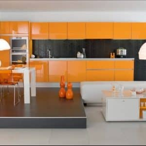 Cuisine-moderne-couleur-orange